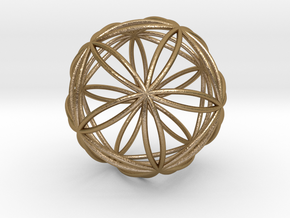 """Icosasphere 1.8"""" in Polished Gold Steel"""