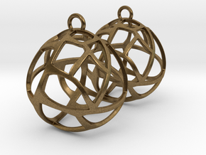 Earrings Spherical Mesh in Natural Bronze