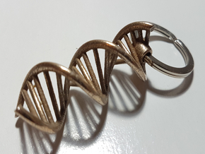DNA Keychain in Polished Bronzed Silver Steel