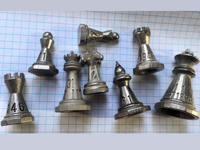 Chess shaped Dice in Polished Nickel Steel: Polyhedral Set
