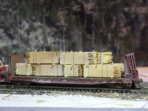 2x4 2x8 And 4x4 Lumber Load, N Scale, Flat Car in Frosted Ultra Detail