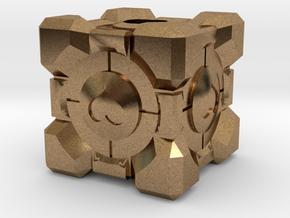 Companion Cube Lanyard Bead in Natural Brass