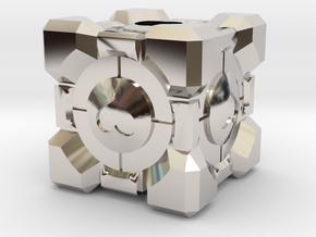 Companion Cube Lanyard Bead in Platinum