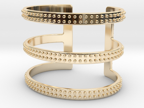 Rows of Rivets Cuff in 14k Gold Plated Brass