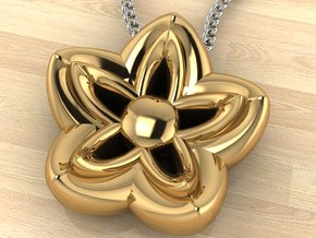 Kanzashi Pendant in 14k Gold Plated Brass