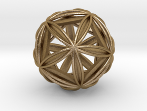 Icosasphere w/ Nested Icosahedron in Polished Gold Steel