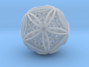 """Icosasphere w/Nest Flower of Life Icosahedron 1.8"""" in Smooth Fine Detail Plastic"""