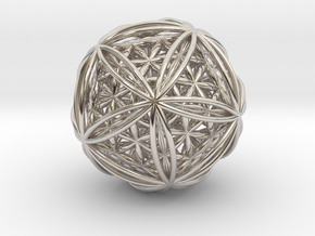 Icosasphere w/ Nested Flower of Life Icosahedron in Platinum