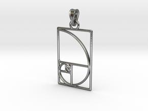 Fibonacci Pendant in Polished Silver (Interlocking Parts)