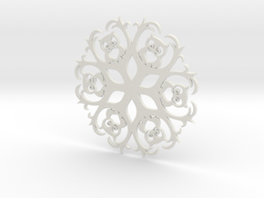 Owls & Branches Snowflake Ornament in White Strong & Flexible