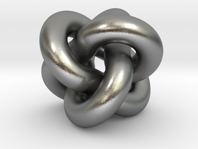 Borromean Rings Pendant in Natural Silver (Interlocking Parts): Medium