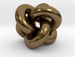 Borromean Rings Pendant in Interlocking Polished Bronze: Medium