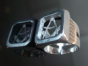 Masonic Signet Ring in Raw Silver