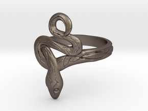 Covetous Silver Serpent Ring in Polished Bronzed Silver Steel: 6.5 / 52.75