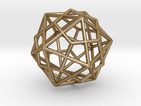 Icosahedron Dodecahedron Combination in Polished Gold Steel