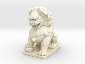 Chinese Guardian Lion in Glossy Full Color Sandstone