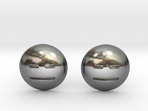 Expressionless Emoji in Polished Silver