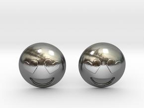 Heart Eyes Emoji in Polished Silver