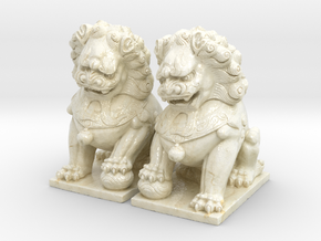 Chinese Guardian Lions in Glossy Full Color Sandstone