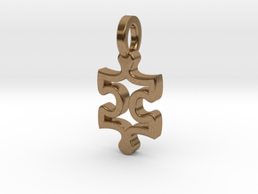 Puzzle Charm in Natural Brass