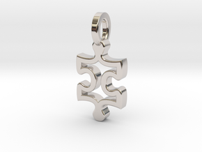 Puzzle Charm in Rhodium Plated Brass