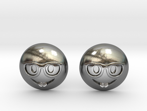 Nerd Emoji in Polished Silver