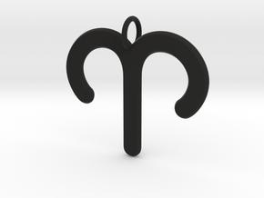 Aries Zodiac Star Sign Necklace Pendant  in Black Natural Versatile Plastic