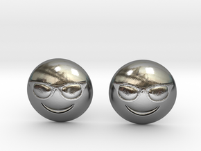 Sunglasses Emoji in Polished Silver
