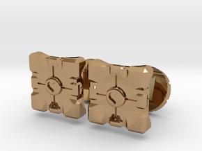 Portal companion cube cufflinks in Polished Brass