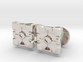 Portal companion cube cufflinks in Platinum