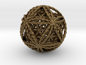 Twisted Icosasphere w/nested FOL Icosahedron in Natural Bronze