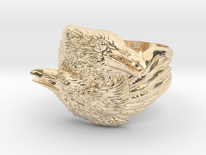 Two Ravens Ring in 14k Gold Plated Brass: 11.5 / 65.25