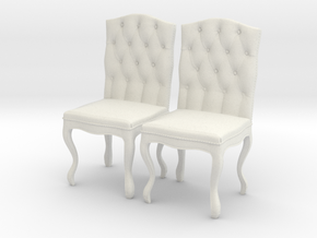 Tufted Dining Chair Set Of 2 in White Natural Versatile Plastic: 1:12