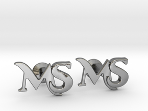 Monogram Cufflinks MS in Polished Silver