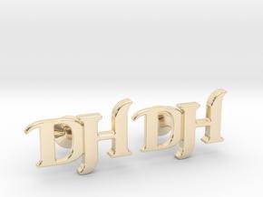 Monogram Cufflinks DH in 14k Gold Plated Brass