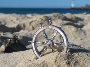 Ship's Wheel Pendant in Rhodium Plated Brass