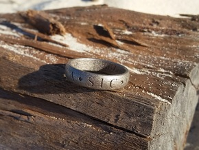 Size 11 Sir Francis Drake, Sic Parvis Magna Ring  in Polished Nickel Steel