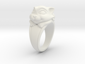 Cat Pet Ring - 17.35mm - US Size 7 in White Natural Versatile Plastic