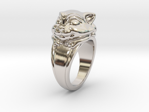 Cat Pet Ring - 17.35mm - US Size 7 in Rhodium Plated Brass