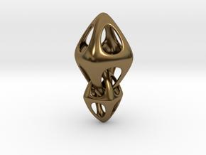 Tetrahedron Double Interlocked in Interlocking Polished Bronze
