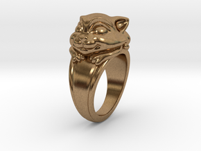 Cat Pet Ring - 18.89mm - US Size 9 in Natural Brass