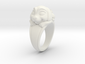 Dog Pet Ring - 18.19mm - US Size 8 in White Natural Versatile Plastic