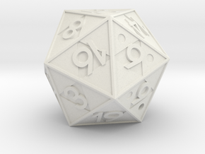 Triforce D20 in White Natural Versatile Plastic: Small