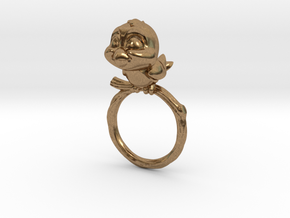 Bird Pet Ring - 17.35mm - US Size 7 in Natural Brass