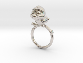 Bird Pet Ring - 18.19mm - US Size 8 in Rhodium Plated Brass