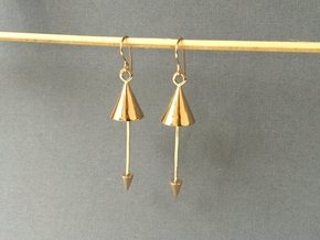 Cone Earrings - Created with interlocking metals in Interlocking Polished Bronze