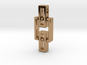 Pendant - Interlocking rectangles in Polished Brass (Interlocking Parts)