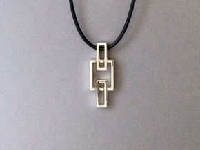 Chain pendant - Pendant using interlocking metals. in Interlocking Polished Silver