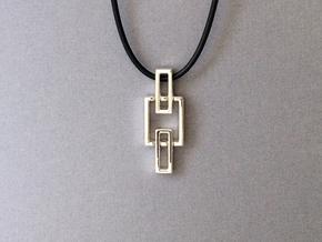Chain pendant - Pendant using interlocking metals. in Interlocking Polished Silver