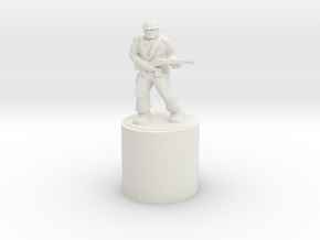 Army Man Pencil Topper in White Natural Versatile Plastic: Medium